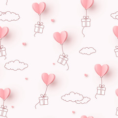 Hearts balloons with gift box flying on pink sky background. Vector love seamless pattern for Happy Mother's or Valentine's Day greeting card design..