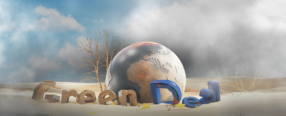 Green Deal desert design and planet earth 3d-illustration. elements of this image furnished by NASA Fotomurales