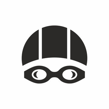 Swimming goggles and swimming cap icon. Vector icon isolated on white background.