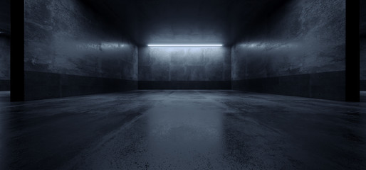 Cement Dark Grunge Parking Underground Car Warehouse Garage Studio Rough Modern Reflective Spaceship Tunnel Corridor Showcase 3D Rendering Fotobehang