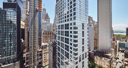 Panoramic view of Manhattan architecture, New York City, USA.