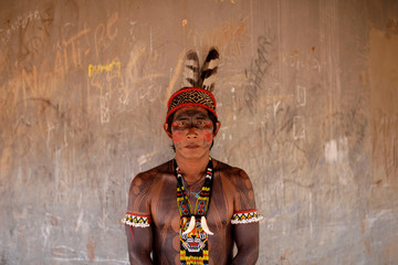 Iritu, from Kaiabi Juruna tribe poses for a picture during a four-day pow wow in Piaracu village, in Xingu Indigenous Park, near Sao Jose do Xingu