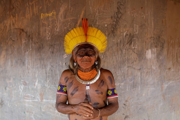 Cacique Bedjai, from Kayapo tribe poses for a picture during a four-day pow wow in Piaracu village, in Xingu Indigenous Park, near Sao Jose do Xingu