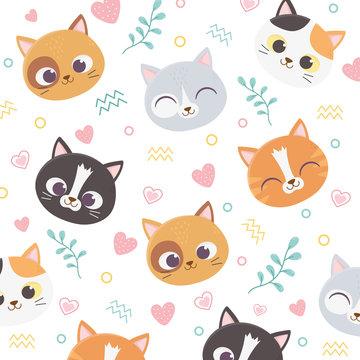 cute pet cats face hearts love foliage cartoon background