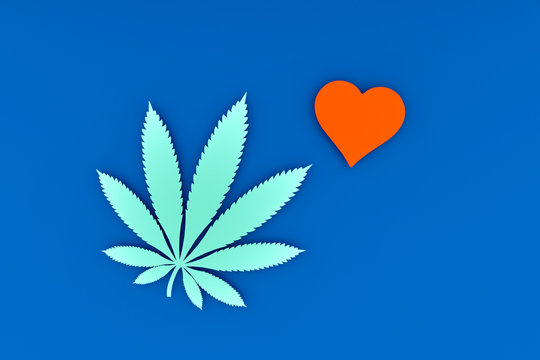Abstract background, cannabis and heart on a blue background, the concept of drug addiction.3D rendering.