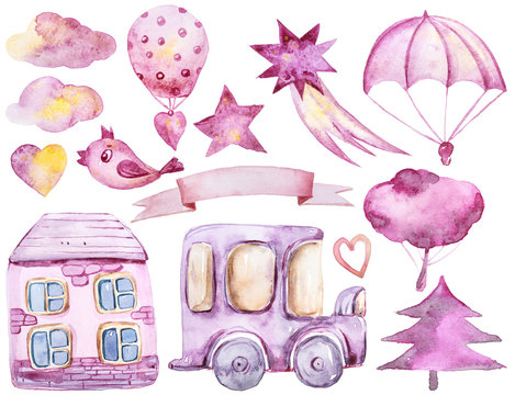 Cute lovely kids clipart. A cartoon watercolor hand painted illustration on white background.Car, house, trees, clouds, birds with balloons. Can be used for print, poster, pattern, book illustration