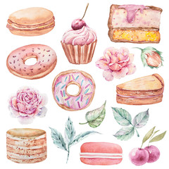 Watercolor cute cartoon clipart. Lovely valentines day set on white background. Donuts, cake, cup cake, flower, leaves, rose, berry, hazelnut collection