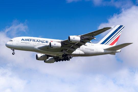 Air France Airbus A380 airplane at Paris Charles de Gaulle
