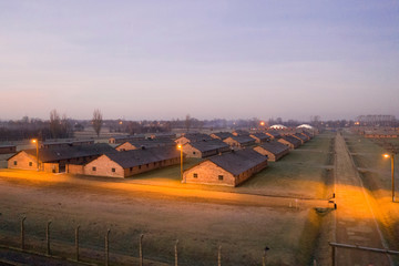 An aerial picture shows barracks and buildings of former Nazi German Auschwitz-Birkenau concentration camp complex in Oswiecim