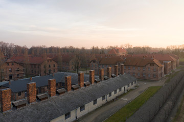 An aerial picture showes barracks and buildings of former Nazi German Auschwitz I concentration camp complex