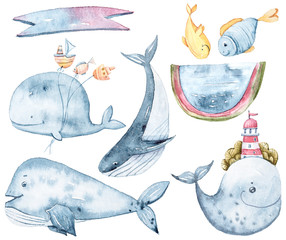 Watercolor cartoon whale character on white background. Sea illustration on white background. lovely kids print