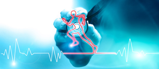 Heart beat in the shape of a running athlete. The stethoscope is an acoustic medical device for auscultation. Medical examination of fitness for physical and motor activity. 3d render