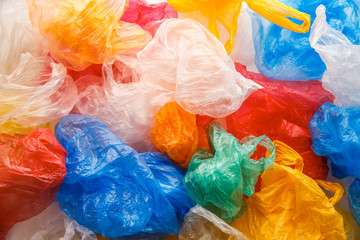Colorful plastic bags pattern