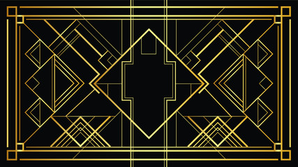 Vector Gatsby Art deco 20's style pattern. Isolated gold illustration of modern early 20th century ornament. Geometric elegant abstract background with glamorous sleek lines with squares