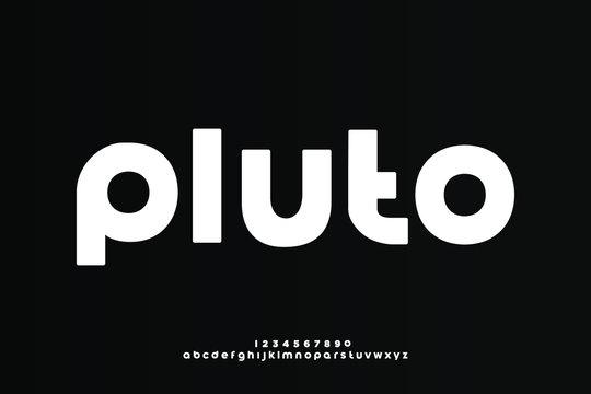 Pluto, a modern minimalist clean alphabet font. lowercase bold typography vector illustration design