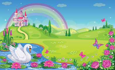 Fairytale background with river, flower meadow, roses, mountains, rainbow and castle for Princess. Lake with lilies or Lotus, Swan. Beautiful and magical landscape. Wonderland. Vector illustration.