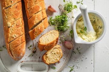 Homemade and hot garlic bread baked at home