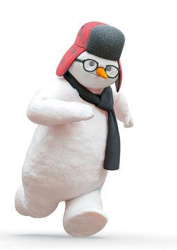 snowman running in white background