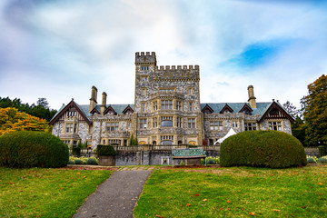Hatley Park National Historic Site, Hatley Castle on a cloudy summer day, British Columbia, in Greater Victoria  Wall mural