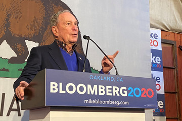 Democratic U.S. presidential candidate Michael Bloomberg speaks at a campaign event in Oakland