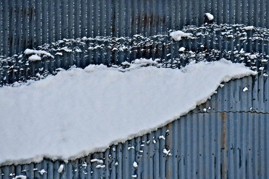 Sliding snow on corrugated roof