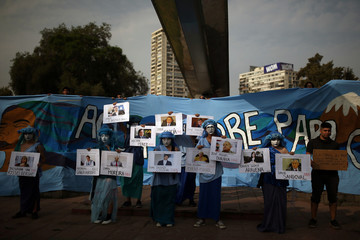 Greenpeace activists take part in a demonstration to ask the government to protect water resources in Santiago