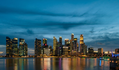 Garden Poster Abu Dhabi Singapore skyscrapers at magic hour