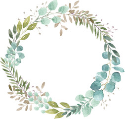 watercolor wreath foliage green natural eucalyptus round delicate leaf leaves organic spring summer bouquet