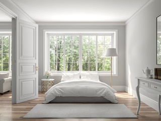 Fototapeta Classical bedroom and living room 3d render,The rooms have wooden floors and gray walls ,decorate with white and gold furniture,There are large window looking out to the nature view. obraz