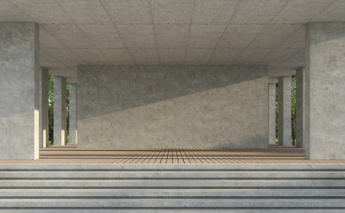 Wall Mural - Indoor balnk concerte wall 3d render,There are wood plank floor,polished concrete wall,with nature backgrond,sunlight shining across the wall