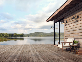 Wooden house exterior with beautiful lake and mountain view 3d render,There are old wood terrace floor,Decorate with white fabric chair,Surrounded by nature Wall mural