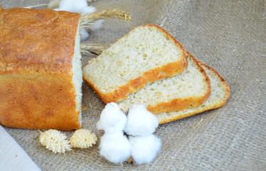 Sliced buckwheat wheat bread on a tablecloth