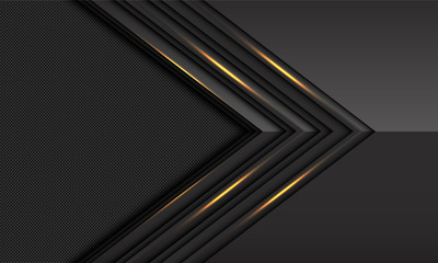 Abstract dark grey gold light metallic arrow direction with circle mesh pattern blank space design modern luxury futuristic technology background vector illustration. Fototapete