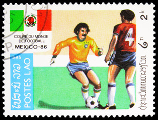 Poster Chicken Postage stamp printed in Laos shows Play Scenes, World Cup Football serie, 2 Lao kip, circa 1985