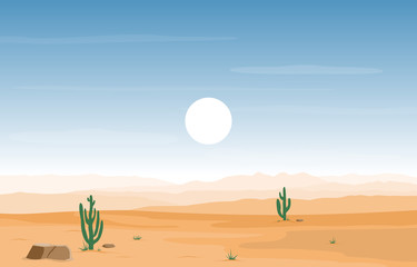 Aluminium Prints Blue Day in Vast Western American Desert with Cactus Horizon Landscape Illustration
