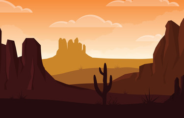 Türaufkleber Braun Day in Vast Western American Desert with Cactus Horizon Landscape Illustration