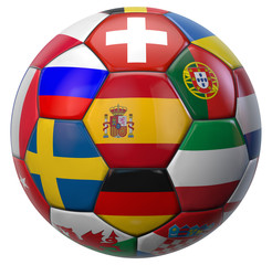 Spain and Euro Football Ball Teams Isolated on White