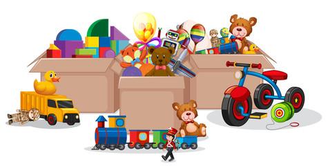 Three boxes full of toys on white background