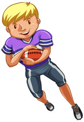 Athlete doing american football on white background