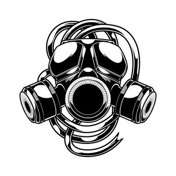 Vector respirator graffiti steampunk style gas mask on white background