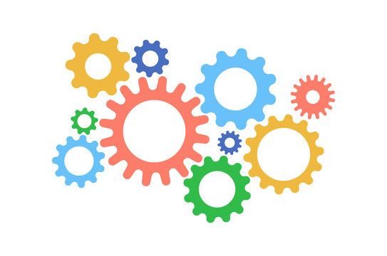 Cute gears cartoon color on white background