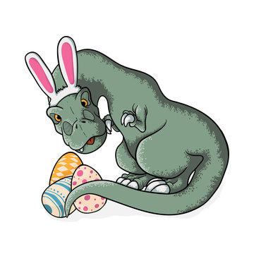 Little tyrannosaurus rex with bunny ears and easter eggs. Cute t-rex in cartoons style sitting with eggs in cartoons style. vector hand drawn illustration of dinosaur tyrannosaur rex in childish style