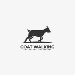 Vector Logo Illustration Goat Walking silhouette