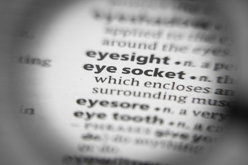 Word or phrase eye socket in a dictionary.