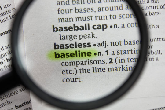 The word or phrase baseline in a dictionary.