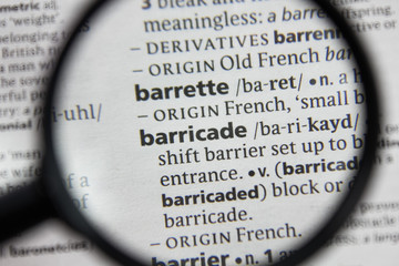 The word or phrase barricade in a dictionary.