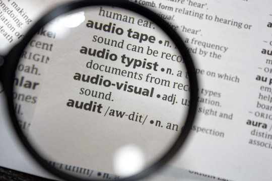The word of phrase - audio-visual - in a dictionary.