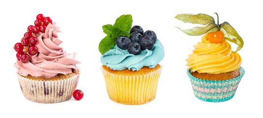 Set of different cupcakes