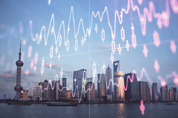 Aluminium Prints Shanghai Forex graph on city view with skyscrapers background double exposure. Financial analysis concept.