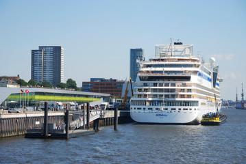 Aidablu cruise ship of Aida Cruises in the harbor of Hamburg, Germany on August 20, 2011